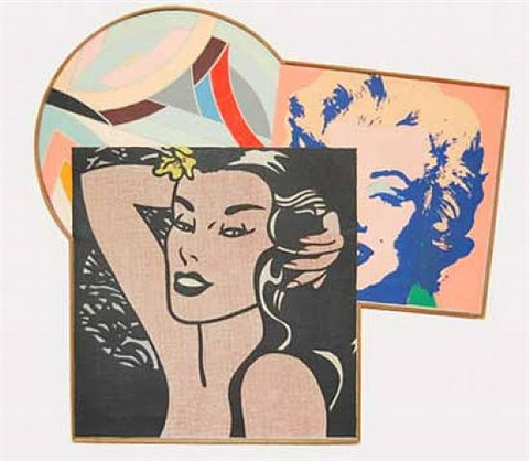 "sinjerli variation i""; lichtenstein ""little aloha""; warhol, ""marilyn monroe"" by richard pettibone"