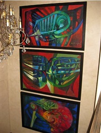 formas en rojo, verde y azul (triptych) by raul enmanuel