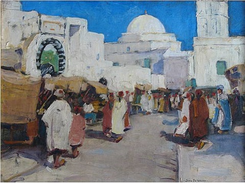 market scene, biskra, north africa by jane peterson