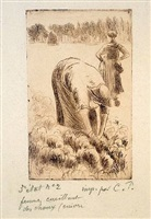femme cuellant des choux (woman picking cabbage) by camille pissarro