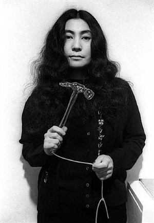 yoko ono (with glass hammer, half-a-wind exhibition) by clay perry