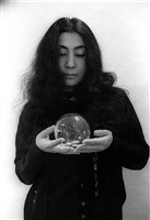yoko ono (with glass sphere, half-a-wind exhibition) by clay perry