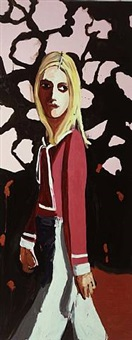 woman with flowers by chantal joffe