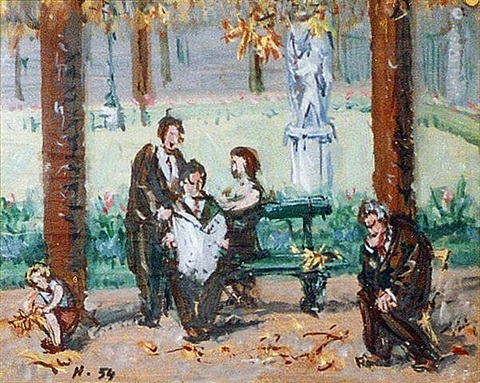 people on a bench by jean hélion