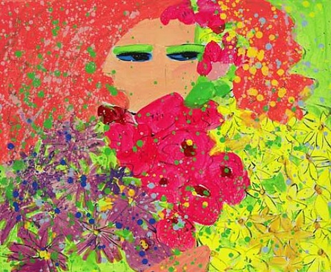girl with orange hair and flowers by walasse ting