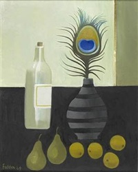 peacock feather still life by mary fedden