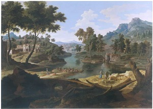 imaginary landscape with lake by etienne allegrain