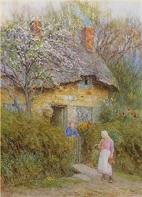 beneath the cherry tree by helen allingham
