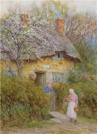 beneath the cherry tree by helen allingham
