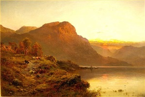 an evening glow, stronachlachor by alfred de breanski sr