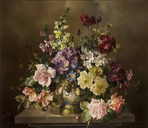 flowers in a blue and ormolu vase by harold clayton