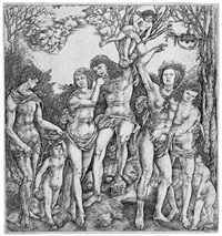 ein junger mann, von amor an einen baum gebunden (allegorie auf die liebe) by cristoforo di michele robetta