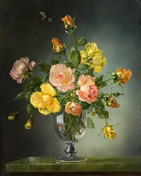 roses in a georgian glass goblet by cecil kennedy