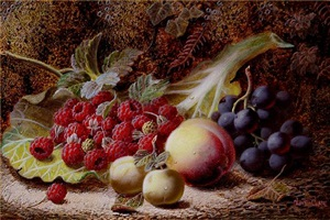 still life of fruit on a mossy bank by oliver clare