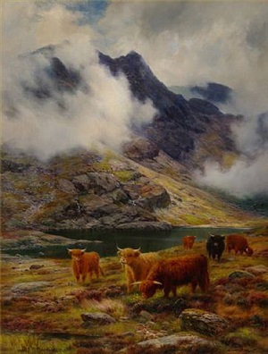 cattle grazing at the lochs edge by louis bosworth hurt
