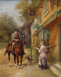 the village postman & the rendezvous (pair) by heywood hardy
