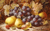 still lifes of fruit (pair) by oliver clare