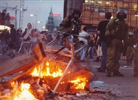 untitled (berlin demonstration, fire, cops) by josephine meckseper