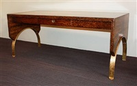 a palmwood and oxidized brass desk by eugene printz