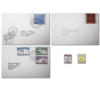 postage stamps from various imaginary countries (group of 8) by donald evans