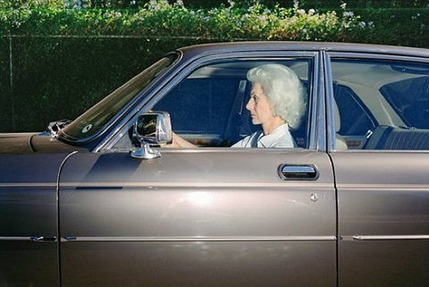 woman caught in traffic while heading southwest on u.s. route 101 near the topanga canyon boulevard exit, woodland hills, california, at 5:38 p.m. in the sumer of 1989 by andrew bush