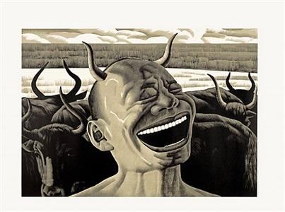 print #8 (i am a cow) by yue minjun