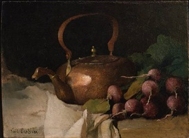 still life with tea kettle and radishes by soren emil carlsen