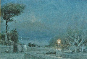 a garden, naples and vesuvius by albert goodwin
