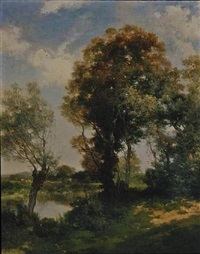 the clearing, long island by thomas moran