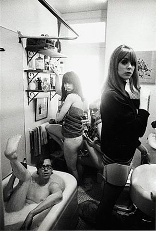 bruce conner (in tub), toni basil, /teri garr and ann marshall, 1964 by dennis hopper