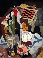 untitled (still life with game board and wine) by stanton macdonald-wright