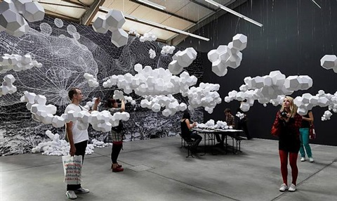 "installation view of ""cloudy house"" at andersen's contemporary berlin, 2009 by tomas saraceno"