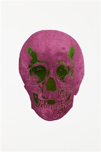 the dead lime green loganberry pink skull by damien hirst