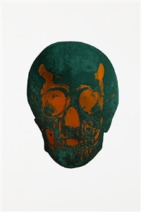 the dead racing green island copper skull by damien hirst
