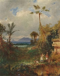 two women in a tropical landscape by louis rémy mignot