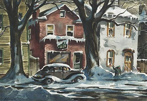 a street in winter (double-sided) a street in summer by henry martin gasser