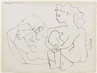 jeunes femmes nues reposant by pablo picasso