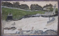 harbour scene with castle & lighthouse by alfred wallis