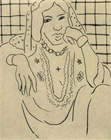 odalisque sur fond à carreaux by henri matisse