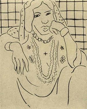 odalisque sur fond à carreaux by henri matisse