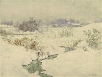 brook in winter (sold) by walter launt palmer