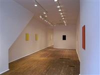 installation view of front room - from right: <u>scarlet</u>, <u>apt</u>, <u>script<font color=ffffff> s</font></u>, [visibility through doorway] <u>studio</u>, and <u>doing</u> by tom benson
