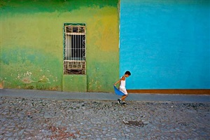 boy with blue scarf, trinidad, cuba by jeffrey milstein