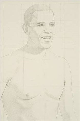 study for barack obama (detail) by kurt kauper