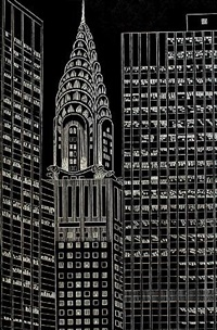 chrysler building flanked by high rise buildings, ii by yvonne jacquette