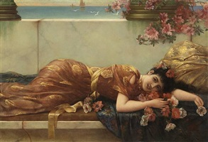 a reclining beauty by emile eisman-semenowsky