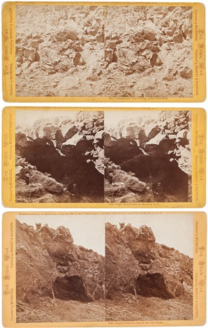 schaknastie jims camp in the lava beds capt jacks cave in the lava beds and bogus charlies cave in the lava beds 3 works by eadweard muybridge