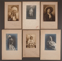 two shield; unidentified girl; iron star, a young sioux; chief john grass; cow boy or rocky buttes; and little shield's mother (6 works) by frank bennett fiske