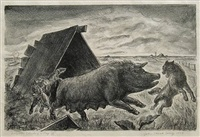 coyotes stealing a pig by john steuart curry