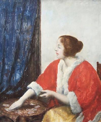 portrait of a woman playing cards by istván csók